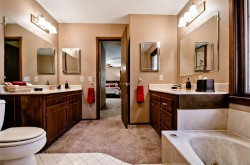 Master bedroom bath with jacuzzi spa and shower on 1st level